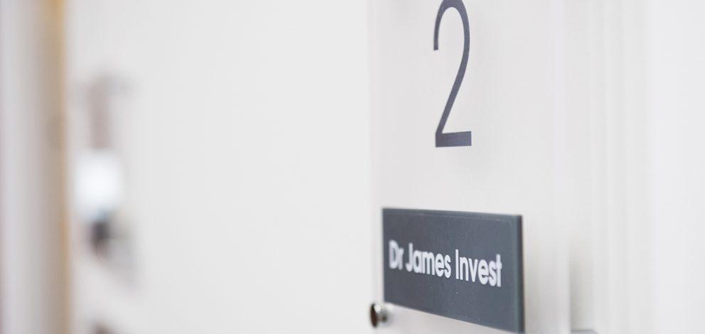 James Invest Sign On Door