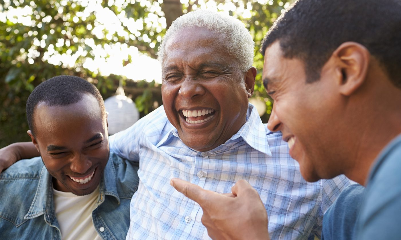 Group Of Black Men Laughing Split Pod